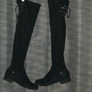GUESS Factory Black Over the Knee Suede Boots
